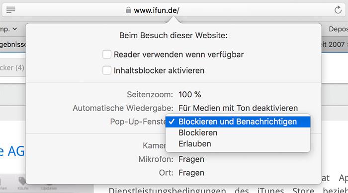 Safari 12 für Mac: Gezielt Pop-Up-Fenster für einzelne