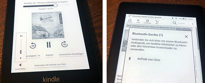 Kindle Paperwhite Mit Airpods Hoerbuecher Hoeren Audible