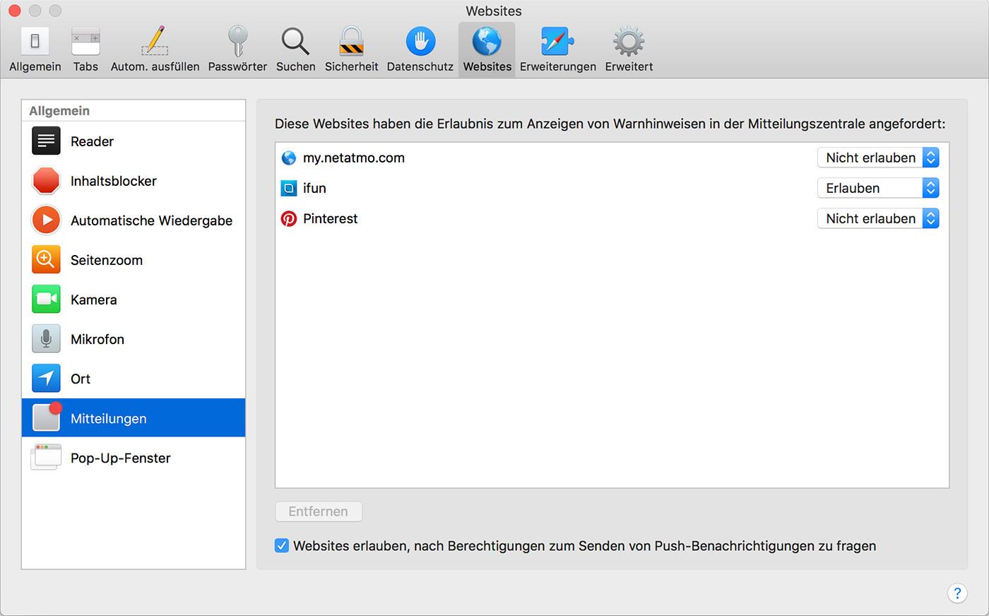 Mac: Safari Push Mitteilungen abonnieren und verwalten >