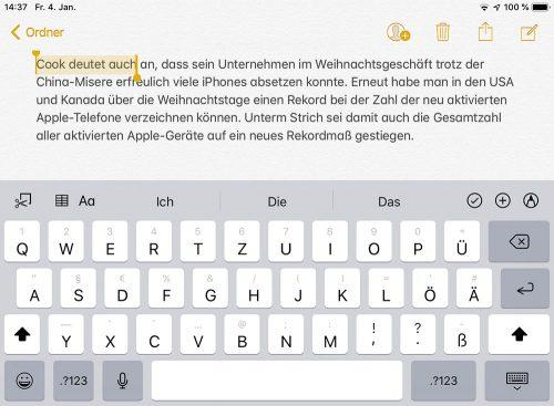 Ipad Text Markieren Mit Zwei Fingern