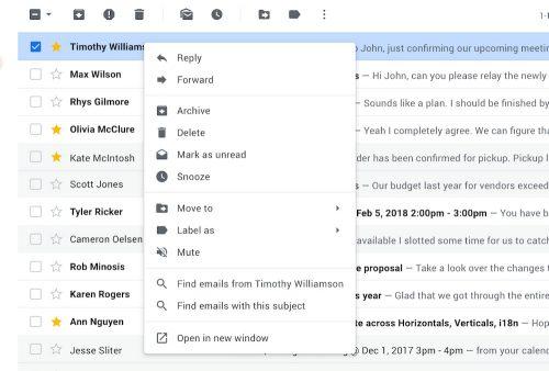 Gmail Kontext Menue