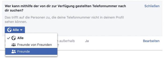 Facebook Telefonnummern Suche Einstellungen