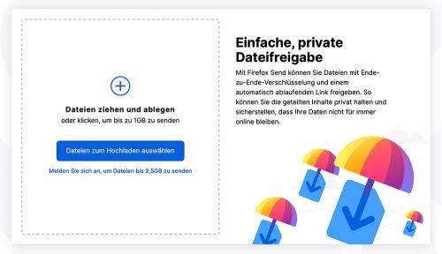 Firefox Send Dateifreigabe