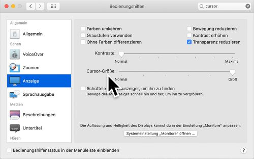 Macos Mojave Mauszeiger Groesse
