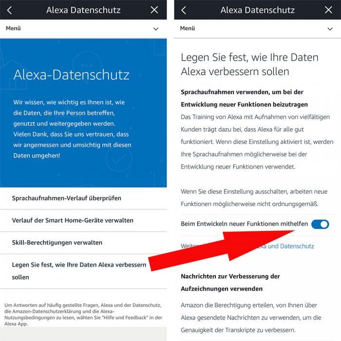 Alexa Datenschutz Einstellungen
