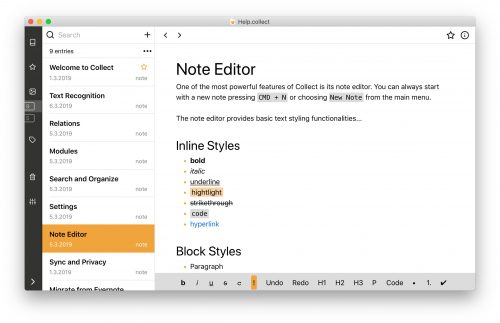 Collect App Mac