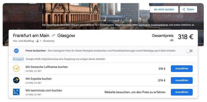 Google Flugbuchung