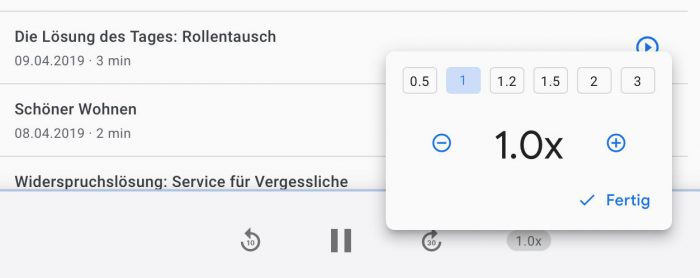 Google Suche Podcast Player