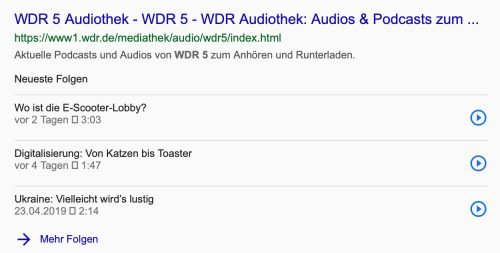 Podcasts In Google Suchergebnissen