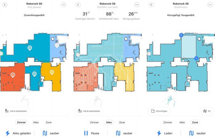 Roborock S6 Raum Reinigung App