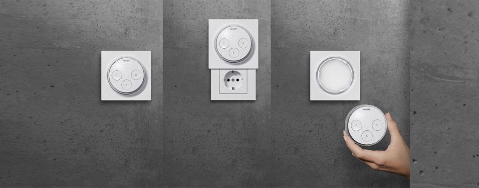 Versteckdose kombiniert Steckdose und Philips Hue-Schalter