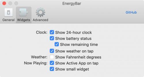 Energybar Settings