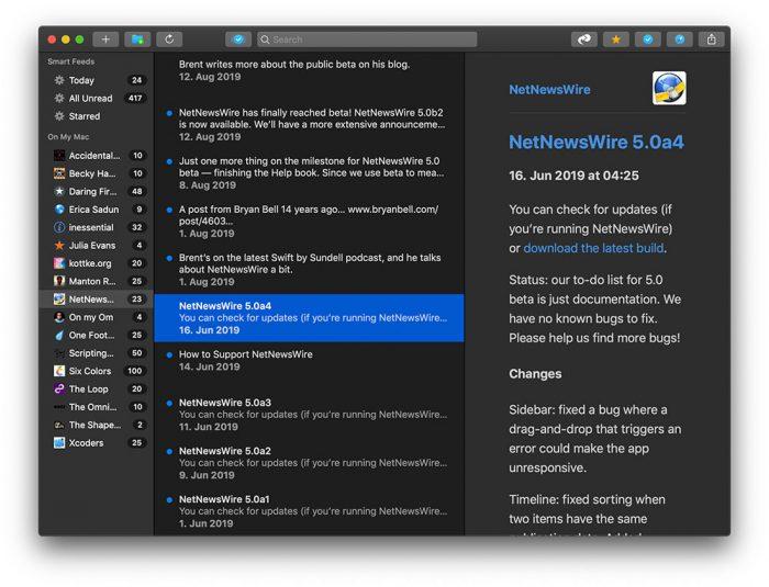 Netnewswire Screenshot Dark Mode