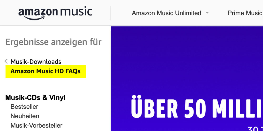 Amazon Music startet