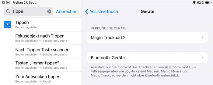 Ipad Magic Mouse Und Magic Trackpad Ueber Bluetooth Verbinden