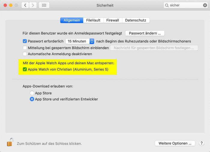 Macos Catalina Anfragen Von Apps Erlauben Apple Watch