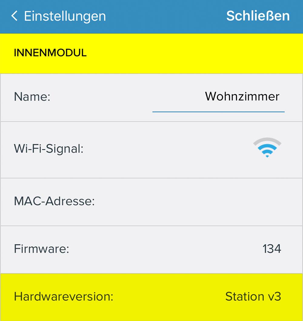 Netatmo Hardware Version Anzeigen