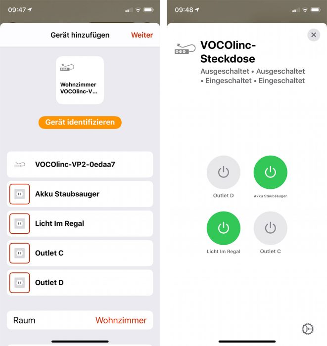 Vocolinc Homekit Steckdose Home App