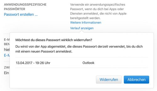 Apple Id Anwendungsspezifisches Passwort Widerrufen