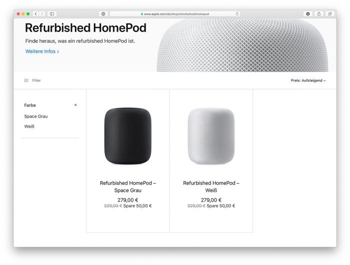 Homepod Im Apple Refurb Store