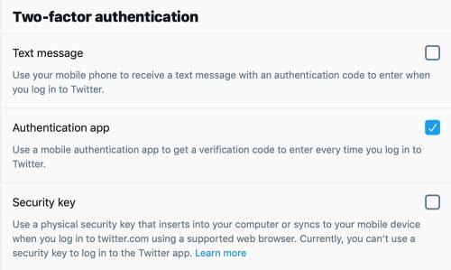 Twitter 2 Faktor Authentifizierung