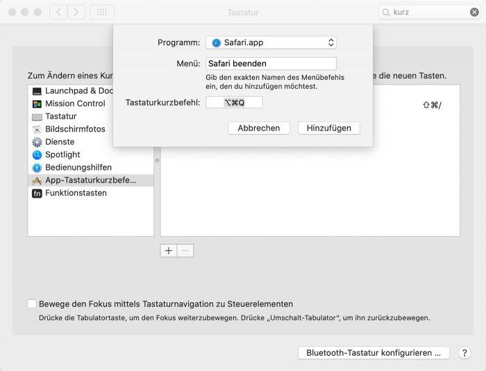 Safari Befehl Q Menubefehl Deaktivieren