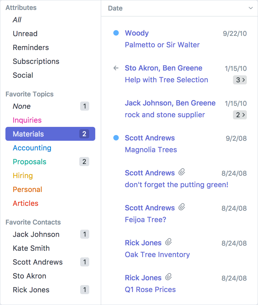 Postbox Mail App Filter