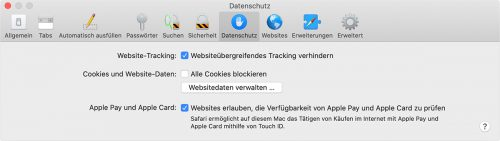 Safari Website Tracking Schutz