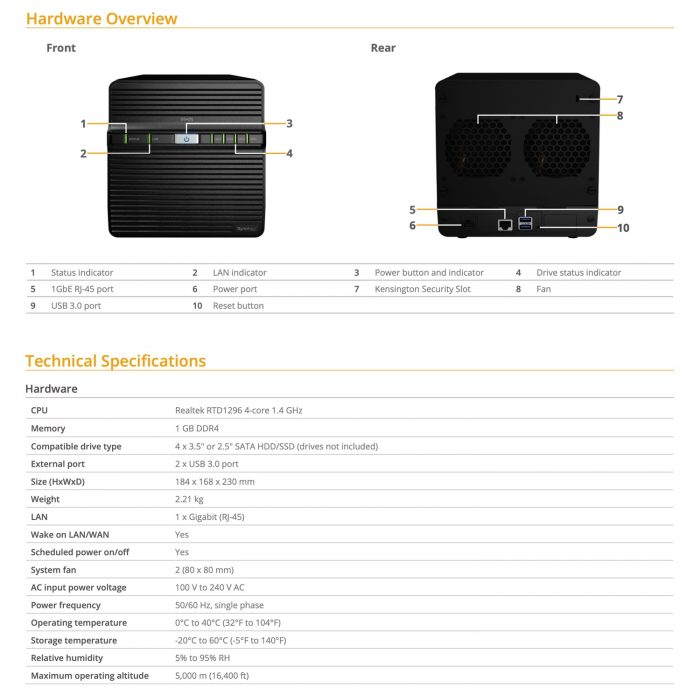 Synology Ds420j Specs