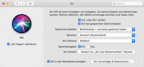 Hey Siri Einstellungen Mac