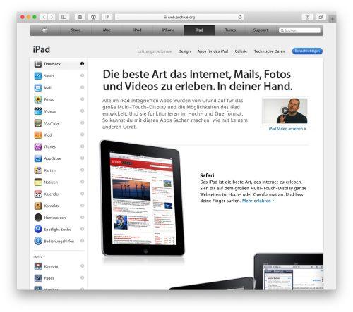 Ipad Feature Seite