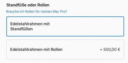 Mac Pro Rollen Aufpreis