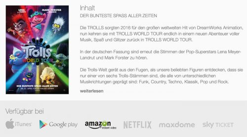 Trolls World Tour Heimkino Premiere