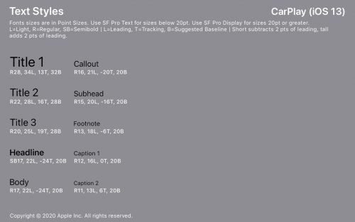Carplay Text Styles
