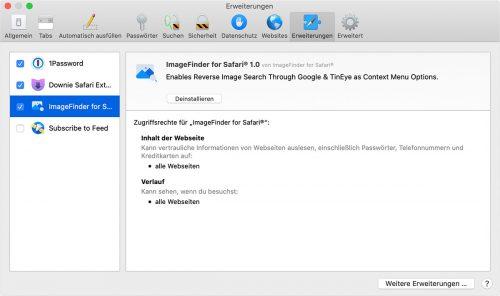 Imagefinder Safari Einstellungen