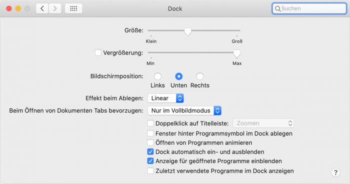 Mac Systemeinstellungen Dock