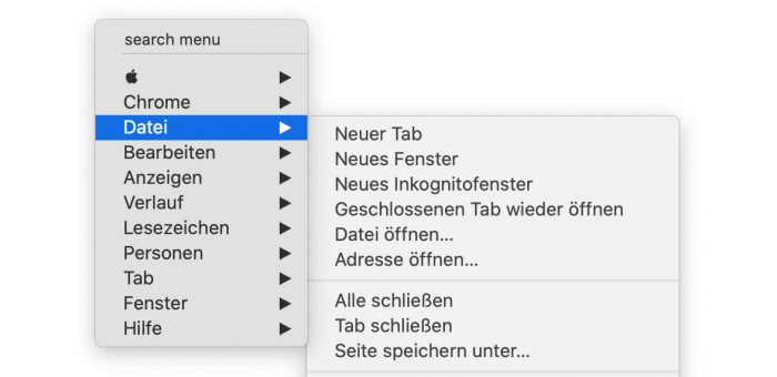 Menuffy Chrome Screenshot