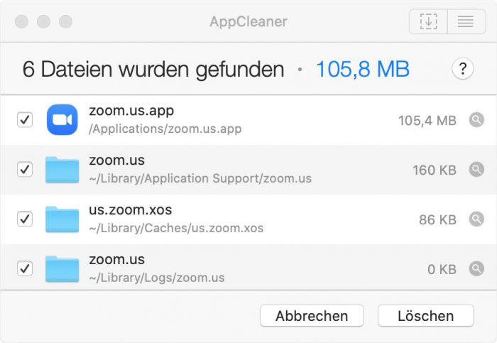 Appcleaner App Vollstandig Loeschen Beispiel Zoom