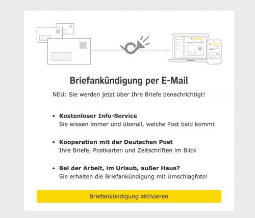 Briefankuendigung Web De Post