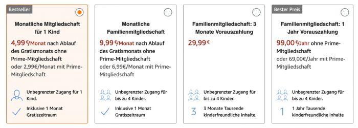 Mitgliedschaften Amazon Kids