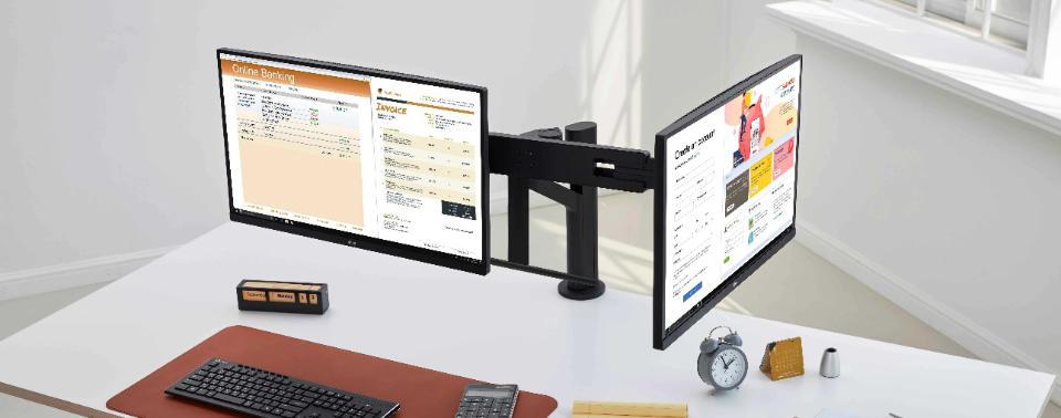 Ergo-Monitore von LG: Zweite Generation auch in Dual-Ausführung
